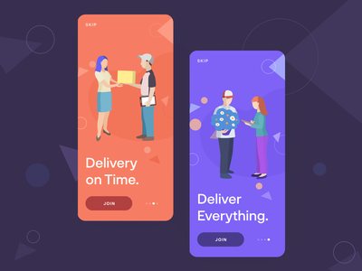 Deliver Onboarding visual concept color typography dark mobile gradients flat animation clean vector gradient bright app illustration art minimal ux design ui