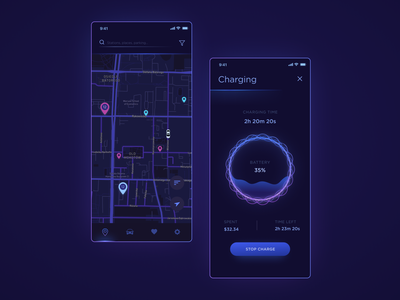 Electric Car Charging light neon gradient blue dark mode dark future electric charge car gradients bright app illustration art ux design ui