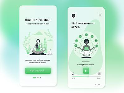 Meditation App meditation app meditate calming sounds zen wellness meditation user interface mockup ui design adobe xd illustration app design uiux interface design