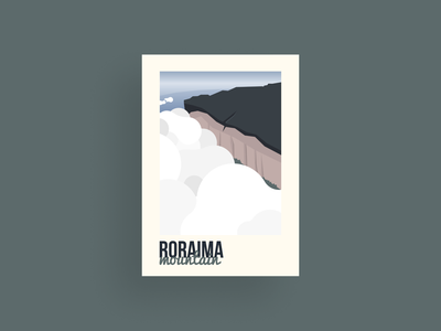 Roraima rock trees landscape clouds sky mountain guyana venezuela brasil south america vector nature design illustrator illustration dribbble