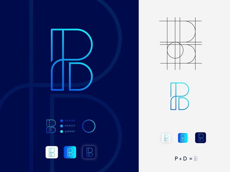 B + D Letter logo design flat graphic design brand identity app icon design logo typography branding logo design