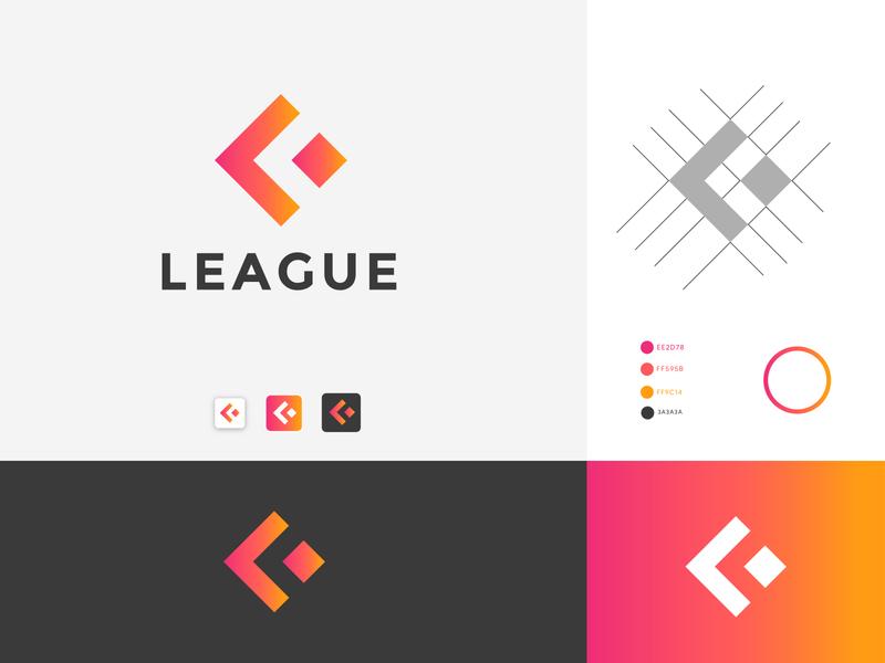 LEAGUE Logo design l logo design app animation icon graphic design design brand design branding design brand identity flat branding logo logo design