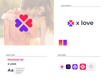 X LOVE graphic design app icon logo design logo design brand x love x love brand design branding design brand identity branding