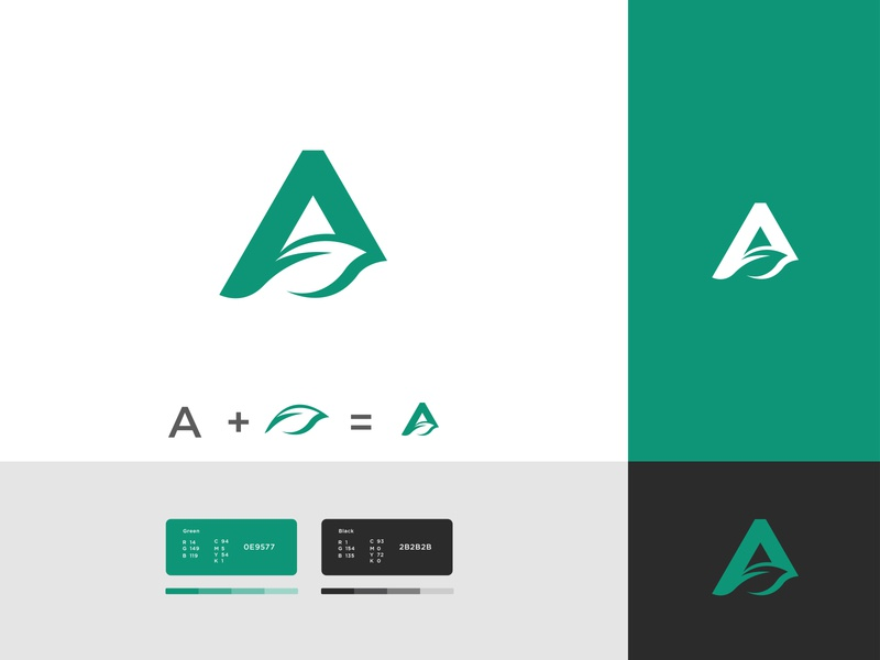 A letter and Green Leaves logo minimalist logotype leaves and a logo leaves and a logo leaves a letter logo letter logo 2d flat graphic design typography vector brand identity branding design branding design logo logo design
