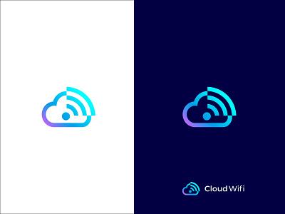 Cloud Wifi brand logo design brand design sky logo mark wifi logo modern concept icon brand identity vector logo flat logo design design branding