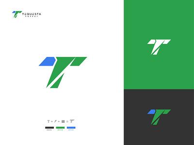 TEQUESTA logodesign gradient company green modern logotype t and power logo power letter logo lettermark brand design concept brand identity vector graphic design design logo flat logo design branding