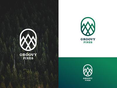 Groovy Pines travel brand design logo mark concept modern logo graphic design tree logo hill logo minimal logo minimalist logo logo design design logo flat vector brand identity branding