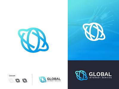 Global Internet Service Modern Logo design brand logo global modern logo design letter logo logo type logo mark coloful logo concept modern internet logo global internet graphic design logo design design logo vector flat brand identity branding