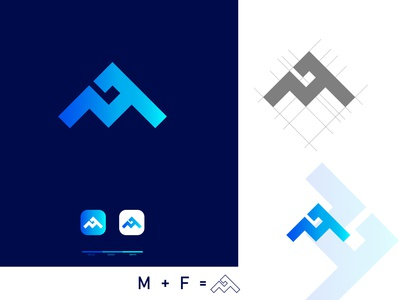 M +  F logo  Design flat app icon branding illustration typography graphic design design logo logo design