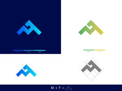 M   F logo icon logo icon design ui design minimal icon branding typography vector flat logo graphic design design logo design