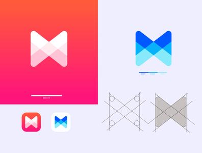 M LOGO logotype brand identity branding graphic design app ui icon typography vector flat logo design logo design