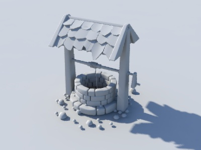 Low poly old stone well model