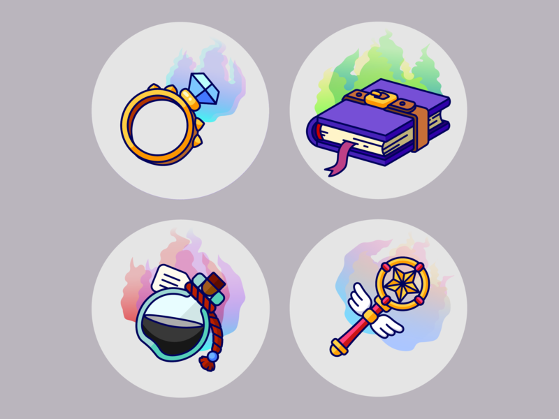 Fantasy Flat Icons (Wizardy) game art fantasy art icon flat art illustration