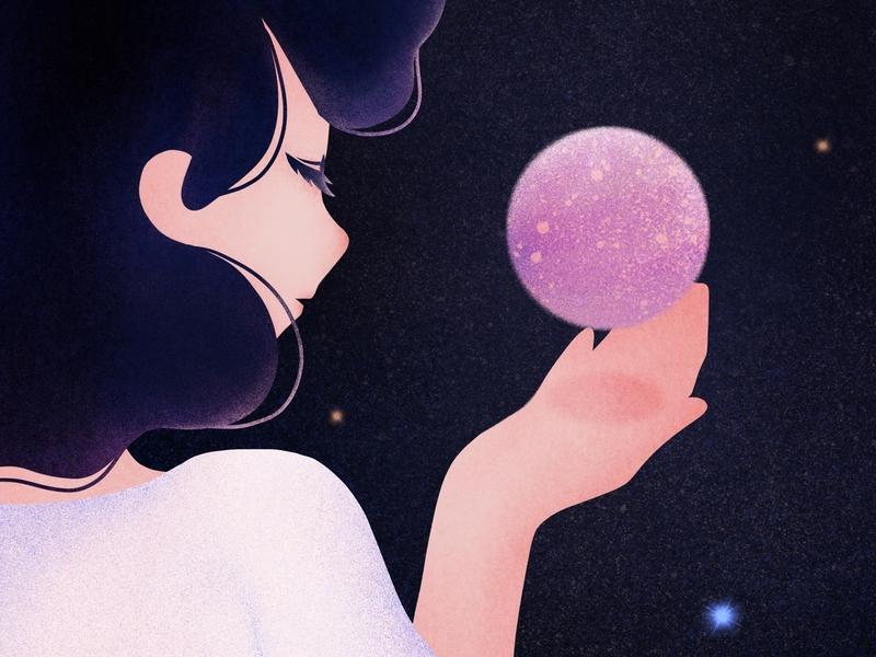 Good night, little planet. good night illustration flat design universe star girl dream