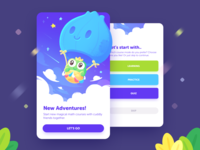 AHA Balloon! children adventure ui onion math k12 character flags stars clouds sky fly hot air balloon frog illustration study learning kids educational app ui course