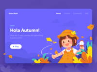Hola Autumn! cover kids kite strings flowers hat girl leaves autumn k12 onion math school course educational app illustration