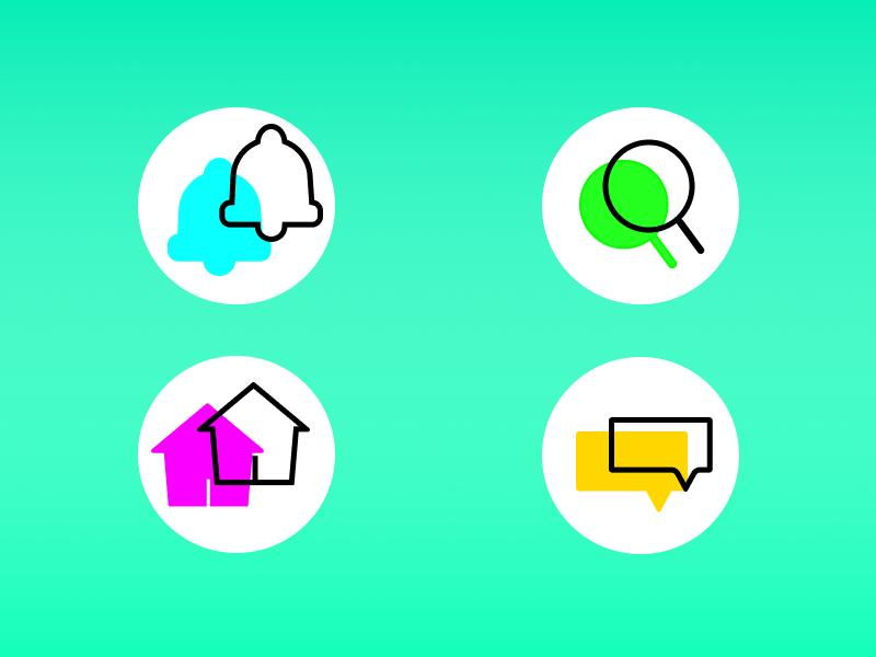 Icon Set icon design chat app android ui icon set