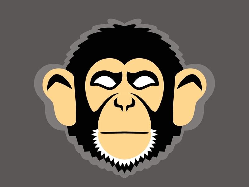 Chimpanzee Logo typography caricature advertising logo animals animals illustrated branding vector design colorful digital art editorial childrens books graphic art editorial illustration nicole wilson illustrator illustration
