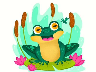 Frog and Dragonfly kids children kid lit art kidlit design colorful digital art editorial childrens books graphic art editorial illustration nicole wilson illustrator illustration