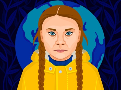 Greta Thunberg people girl illustration design pop art portrait art climate change political portrait nicole wilson editorial illustration illustration greta thunberg