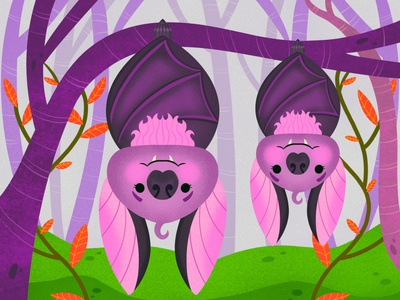 Bat Family design colorful digital art editorial childrens books graphic art illustrator editorial illustration nicole wilson illustration
