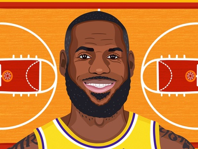 Lebron James portraits sports basketball colorful digital art editorial graphic art childrens books illustrator editorial illustration nicole wilson illustration lebron james lebron