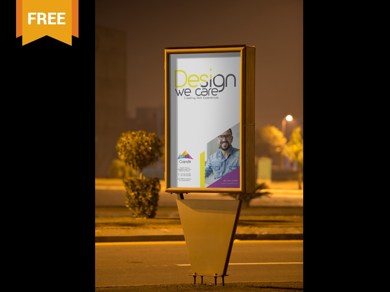Free Outdoor Roadside Poster PSD Mockup free freebie mockup mockups mock up mock-up advertising ad outdoor billboard marketing poster