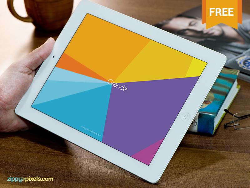 Free Photorealistic Device Mockup of iPad  psd free freebie mockup mockups mock up mock-up apple ipad device tablet