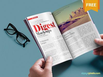 Free Digest-size Magazine PSD Mockup psd free freebie mockup mockups mock up mock-up magazine digest ad advertising