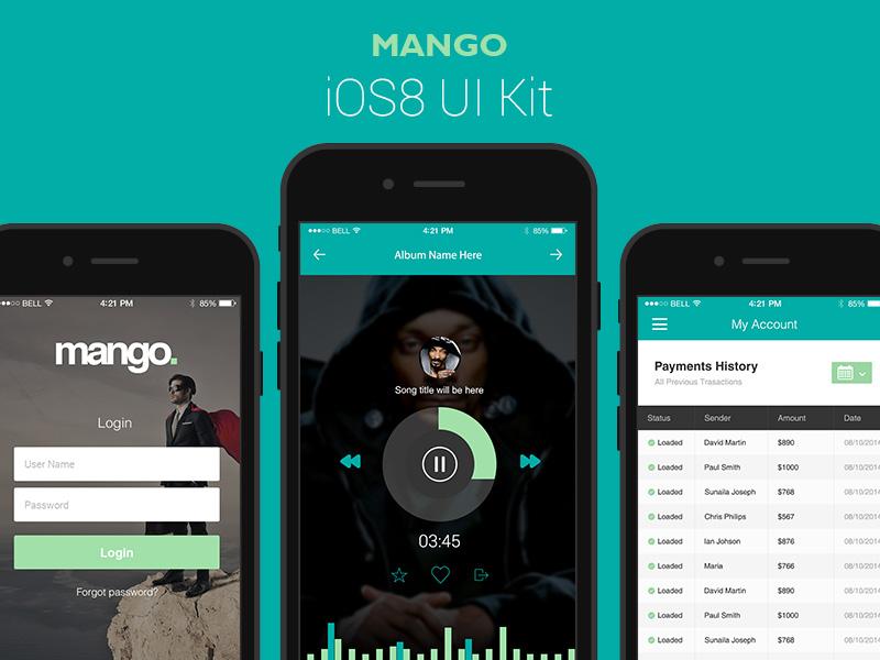 Mango - A Gorgeous Vector iOS8 UI Kit template ui kit ui psd ios8 gui iphone mobile ios vector
