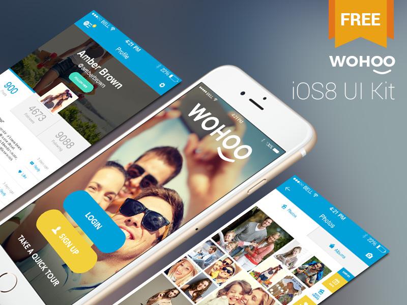 Wohoo - Free iOS8 UI Kit free freebie psd iphone mobile ui ui kit gui ios ios8 vector