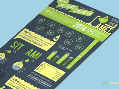 Free Infographics PSD Template in Aqua Theme - 3 Color Options charts stats vector elements psd template infographic freebie free