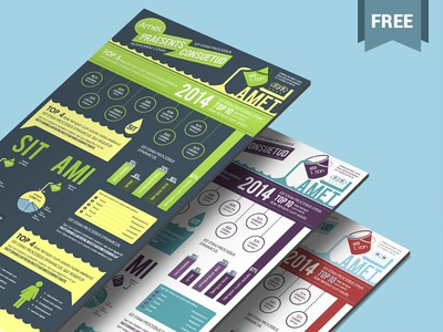 Free Infographics PSD Template in Aqua Theme - 3 Color Options