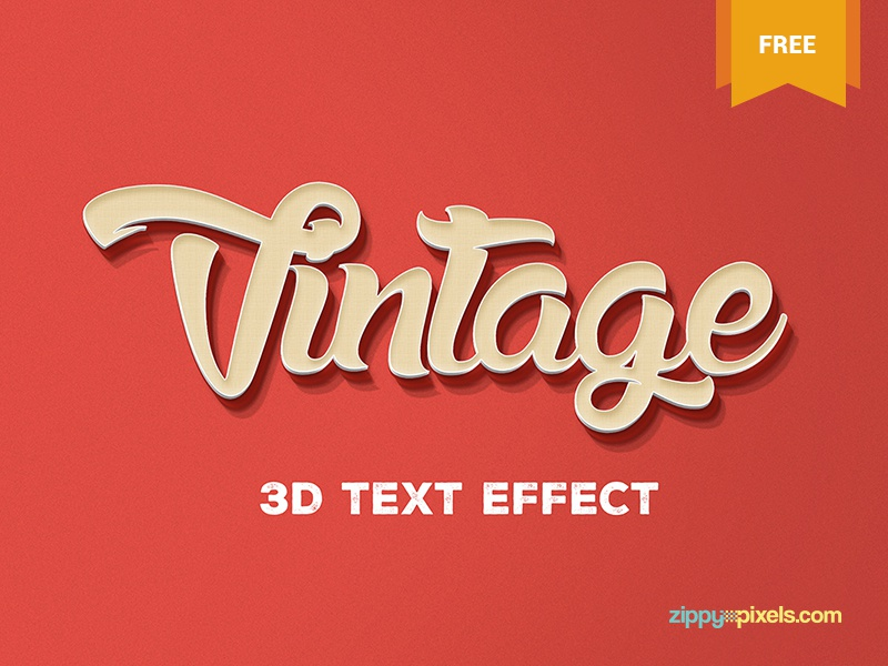 Free Vintage 3d Text Effect text design vintage art smart object vintage theme freebie free photoshop text effect psd text effect vintage text effect 3d text effect text effect