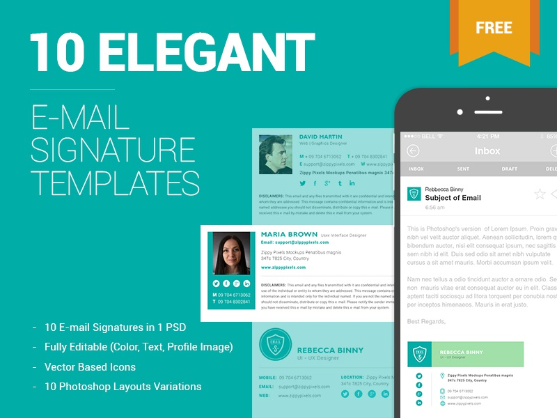 10 Free Email Signature Templates By Zippypixels - Dribbble