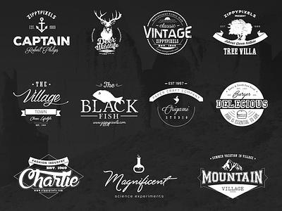 Free Vintage Logo Kit & 15 Vector Logo Templates brand identity branding logos logo templates vintage logos vector logos vintage style logo design kit editable logos templates logo freebie free