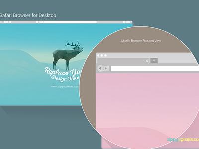 7 Free Web & Mobile Browser Mockups mozilla firefox safari google chrome web design uiux design app design browser vector psd mockup freebie free