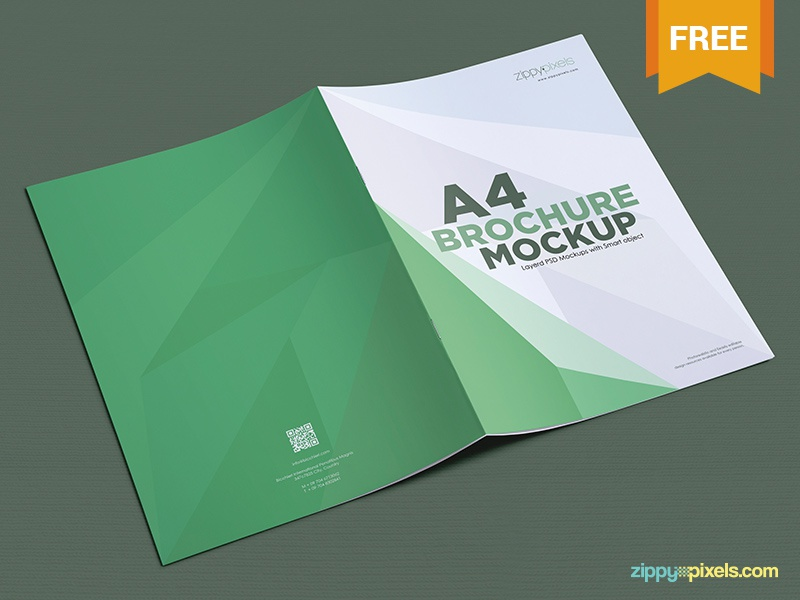 Free A4 Brochure Mockup PSDs By ZippyPixels