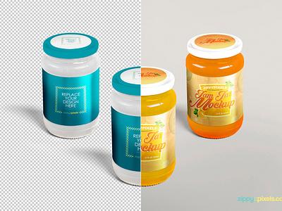Free Beautiful Jam Jar Mockup  packaging design labeling design labeling jam bottle jam container jam jar mockup jam jar jar psd mockup freebie free