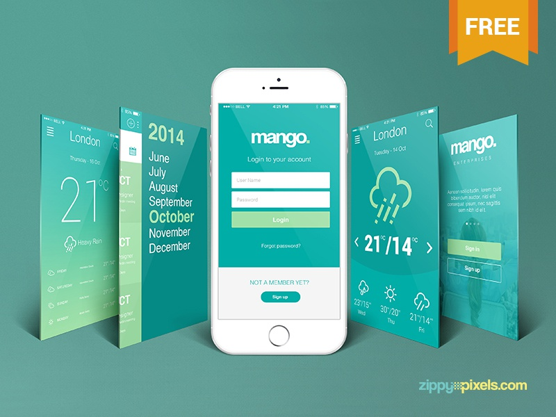 free iphone perspective app screen mockup by zippypixels