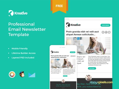 Kreative - Free Email Newsletter Template responsive template email marketing psd template html template campaign monitor template mailchimp template template builder email newsletter template freebie free