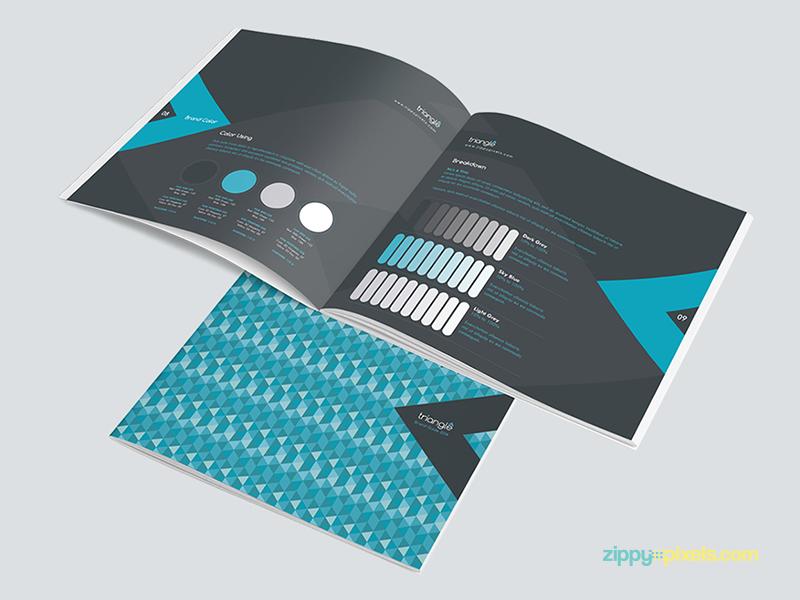 triangles brand book template pdf indd ai business identity corporate identity brand identity brand brochure