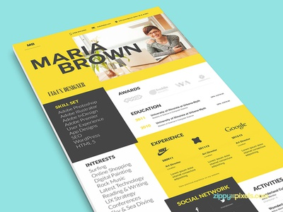 Cool Resume Template Cover Letter By Zippypixels Dribbble