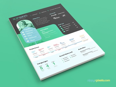 Modern Resume PSD Template with Cover Letter print ready psd resume resume design curriculum vitae cv professional resume cover letter template resume template cover letter resume psd template