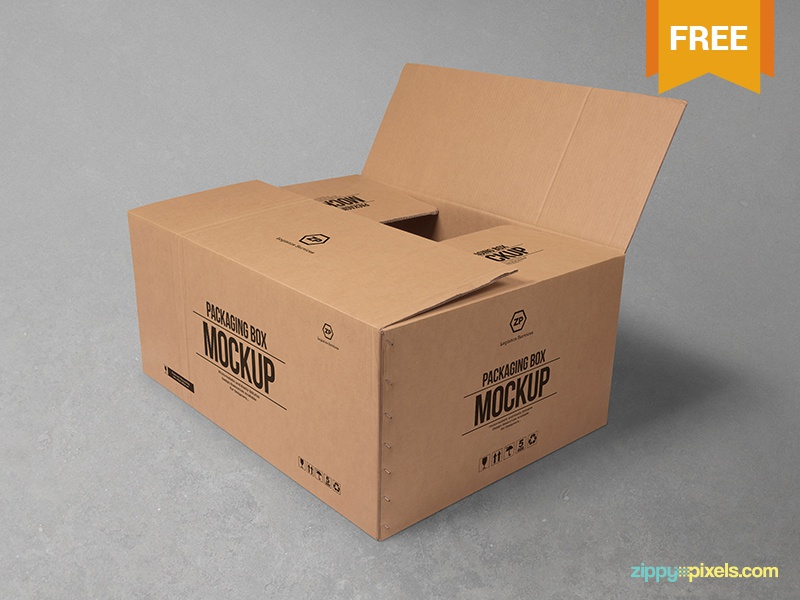 Free Cardboard Box Mockup photorealistic photoshop presentation merchandising box mockup cardboard box carton packaging box psd mockups freebie free