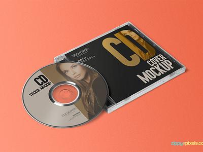 Free CD Jewel Case & Label Sticker Mockup stationery branding labeling packaging label sticker cd label cd cover cd psd mockup freebie free