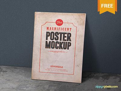2 Free Vintage Poster Mockup PSDs photoshop presentation painting artwork poster design vintage style poster psd mockups mockup freebie free