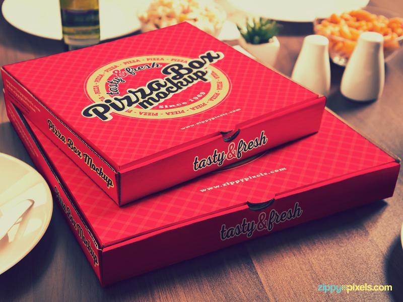 15 Customizable Pizza Box Mockups Vol. 1 photoshop pizzeria square box cardboard box branding packaging container pizza box pizza mockups mock-up mockup