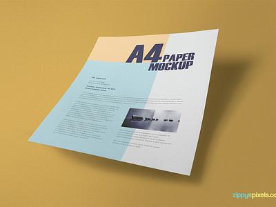 Free Textured A4 Paper Mockup PSD photoshop customizable presentation stationery paper mockup a4 a4 paper paper psd mockup freebie free