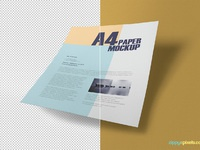 image 4 - Free Textured A4 Paper Mockup PSD